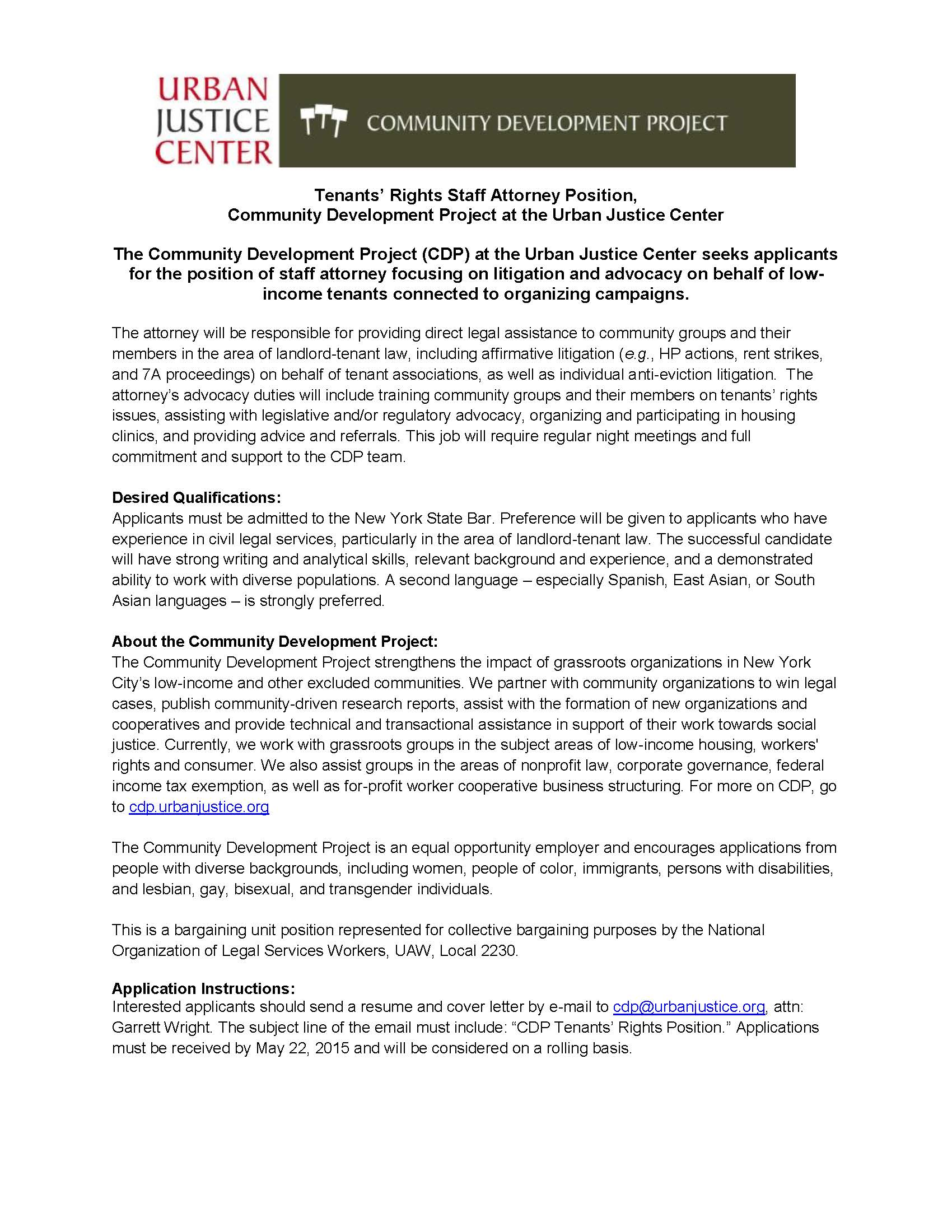 Career Opportunity: CDP at the Urban Justice Center, Staff Attorney ...
