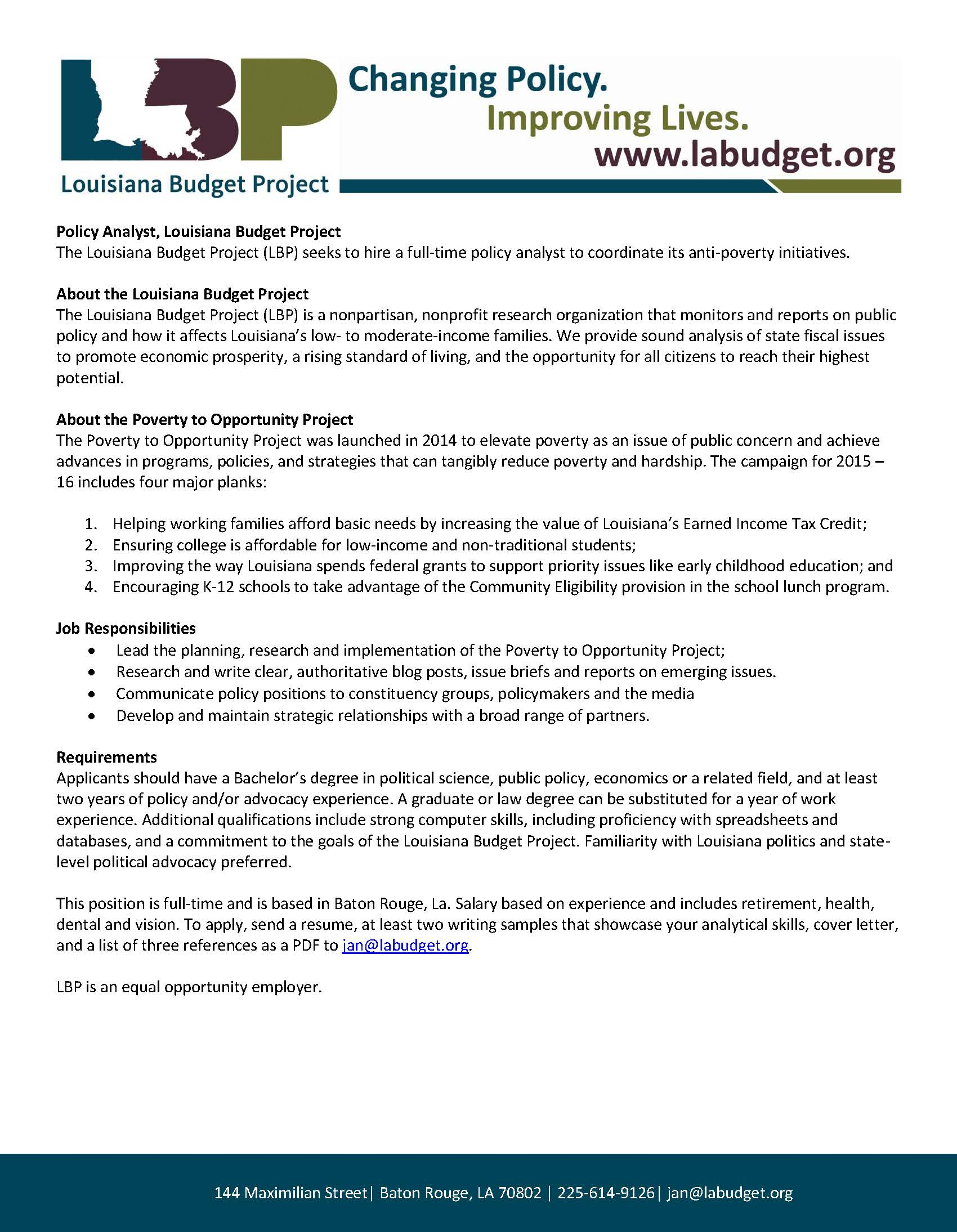 Career Opportunity: Louisiana Budget Project, Policy Analyst ...